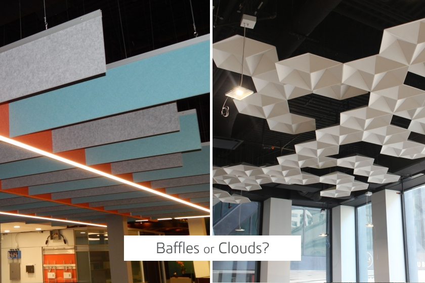 Acoustical Baffles vs Clouds Comparison
